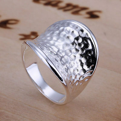 Silver Plated Hammered Finger Thumb Toe Ring Size Q & R.Womens 925 Sterling