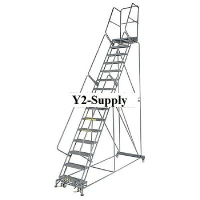 "NEW! Perforated 24""W 10 Step Steel Rolling Ladder 14""D Top Step!!"