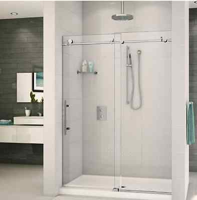 Frameless Sliding Shower Door Hardware Track Kit 8 FT / Brushed Stainless Steel
