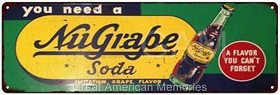 NuGrape Soda Vintage Look Reproduction 6x18 Metal Sign 6180077