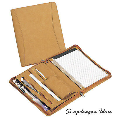 "SnapdragonIdeas  Simulated Leather Zipped Around  8"" x 11"" Pad Holder Tan"