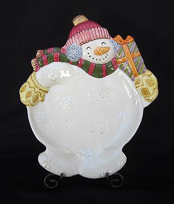 "Fitz and Floyd Christmas Plate or Wall Hanging ""FROSTY FOLK"" 10.5"" X 9"" LOVELY!!"