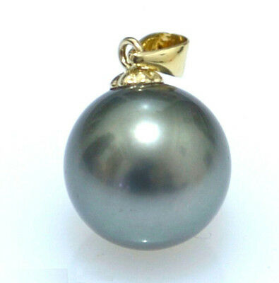HOT Huge AAAA+ 15-16mm Black South Sea Shell Pearl pendant 14K yellow gold