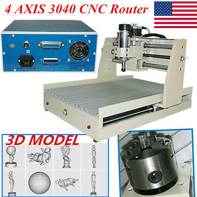 4 AXIS CNC Router Engraver Engraving 3D Drilling CNC Milling Machine 3040 400w