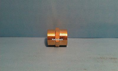 Solid Brass Hex Pipe Coupling 3/8 Inch Female NPT Air Fuel Gas Water