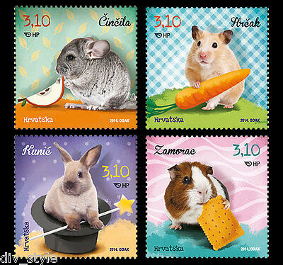 Animal pet set of 4 stamps mnh Croatia 2014 Guinea Pig Hamster Rabbit Chinchilla