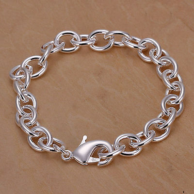 925 Sterling Silver Plated Bracelet with Big Chunky Links /Men&Women/Charm