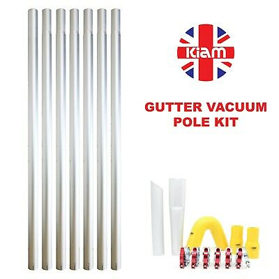 28ft 8.4m Long Reach Gutter Vacuum Pole Kit Set Drain Hoover Cleaning System