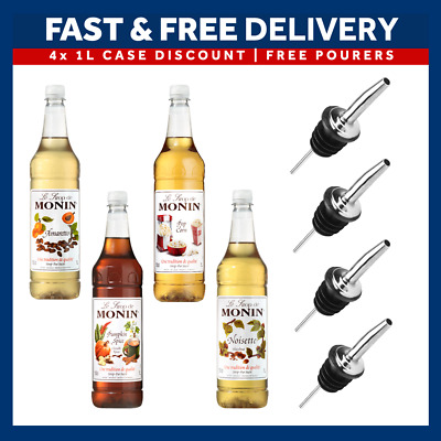 Monin Coffee Syrups Full Case - 4 x 1 Litre Bottles - AS USED BY COSTA COFFEE!