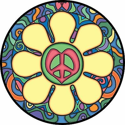 Heart Flower with Peace Sign Spare Tire Cover RV Jeep Camper(all sizes available