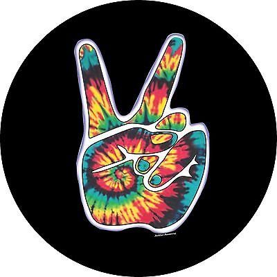 Peace Sign Hand Spare Tire Cover Jeep RV Camper Trailer VW etc(all sizes avail)