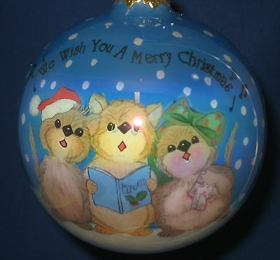 New Very Merry Mice Christmas Ornament Glass Ball Mouse Carolers Caroling Gift