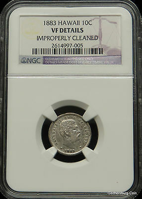 1883 Kingdom of Hawaii Dime NGC Certified VF DETAILS