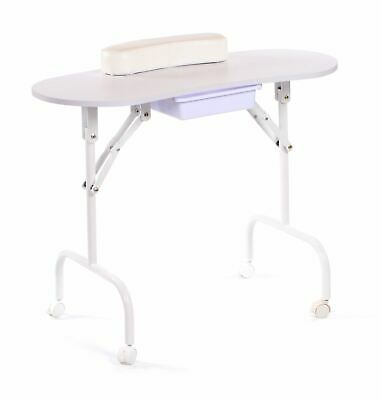 Urbanity portable foldable mobile manicure nail beauty salon table desk white