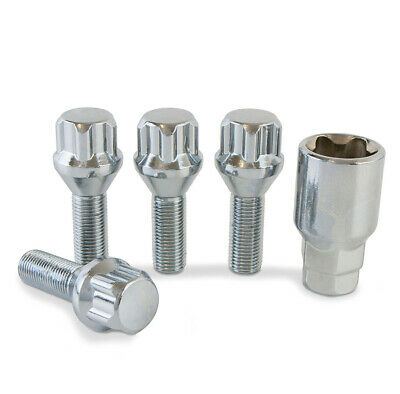 Chrome Locking Wheel Nuts Bolts and Key for Peugeot 308 Aftermarket Alloys