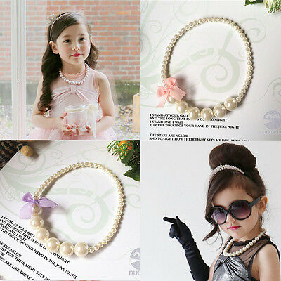 Lace Bowknot Pearls Princess Necklace Baby Girls Toddlers Children Party Jewelry