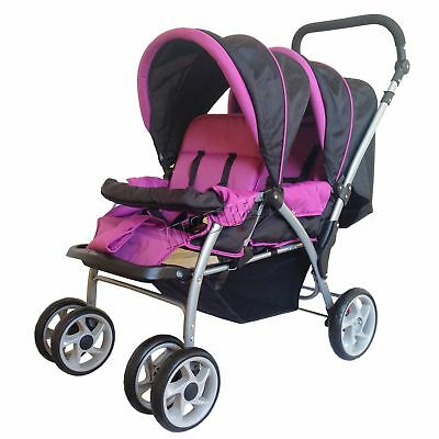 FoxHunter Baby Toddler Tandem Double Stroller Twin Pushchair Pram Buggy Purple