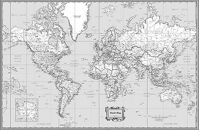 USA CLASSIC BLACK & White Wall Map Poster - 36\