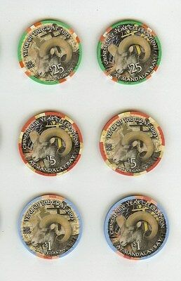 mandalay bay las vegas year of the goat ram sheep $25,5, & 1  casino chip unc