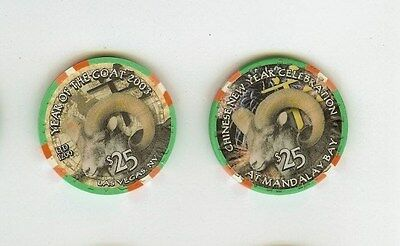 2003 mandalay bay las vegas chinese new year of the goat $25 casino chip unc