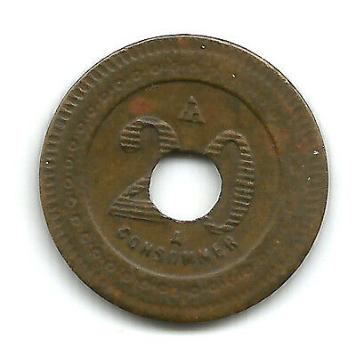 French Token - A Consommer - 20  Brass 19mm Holed