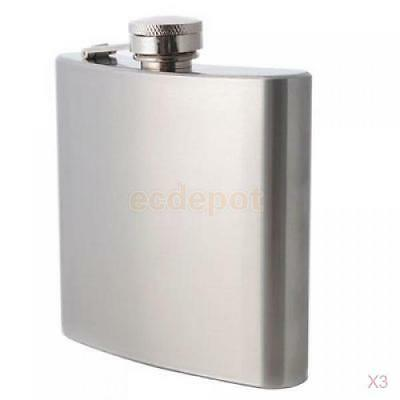 3Pcs 6oz Stainless Steel Drink Liquor Whisky Alcohol Hip Flask Bottle +Screw Cap