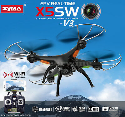 5 Batteries Syma X5SW FPV 2.4G 4CH RC Quadcopter Drone Wifi HD Camera + Charger