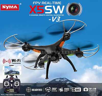 5 Batteries Syma X5SW-V3 FPV 2.4G 4CH RC Quadcopter Drone Wifi HD Camera+Charger