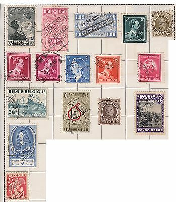 (JF-32) 1927-50 Belgium mix of 15stamps 30c to 6F (B)