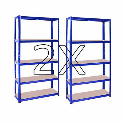 2X Heavy Duty Metal 5 Tier Boltless Shelving Racking Storage Shelf Rack Shelve
