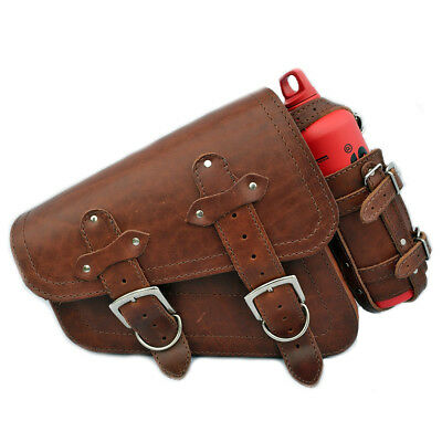 Harley Davidson Sportster 883 1200 Leather Left Saddlebag Pannier+Red Bottle
