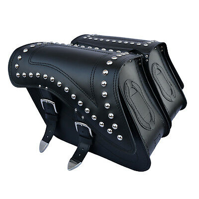 Motorcycle Leather Saddlebags Panniers Harley Davidson Softail Fatboy Dyna C29B