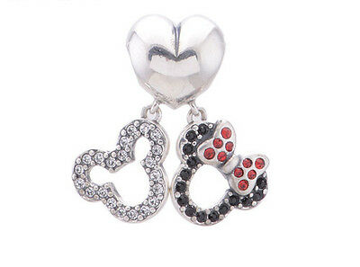 MICKEY & MINNIE MOUSE 925 Sterling Silver Solid European Dangle Charm Bead