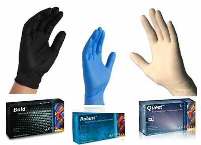 3 BOXES OF 100(300) QUALITY AURELIA NITRILE GLOVES Black Blue or White *CHEAP