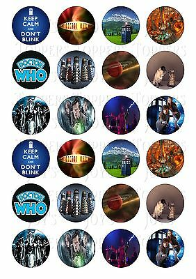 24 Doctor Who  Cupcake Toppers Iced Icing Fairy Cake Bun Toppers