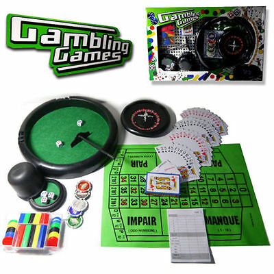 Gambling Games Set 4 In 1 Professional Poker Chip Card Roulette Blackjack Casino