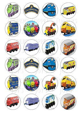 24 Chuggington Trains Cupcake Toppers Iced Icing Fairy Cake Bun Toppers