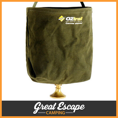 OZtrail Canvas Shower Bucket 20 litre Camping Shower Bag with Rose