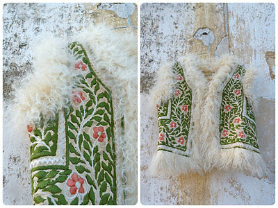 Vintage 1970 /70s full hand embroidered curly lamb fur vest hippie for child /si