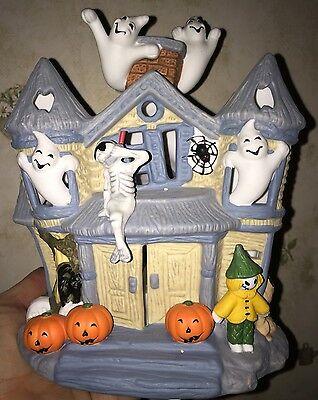 Partylite Halloween Ghost Haunted TeaLight House Display Candleholder P7311