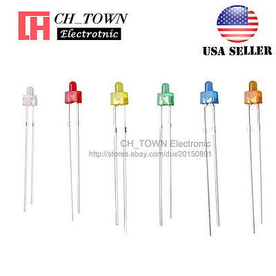 120Pcs 6Lights 2mm Round Top Diffused LED Diodes White Red Blue Green Mix Kits