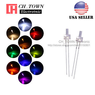 200Pcs 10Lights 2mm Flat Top Water Clear LED Diodes White Red Blue Mix Kits