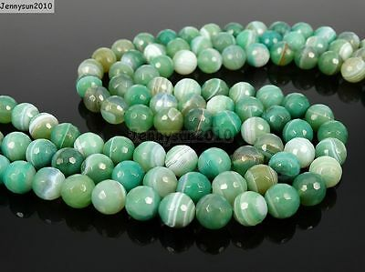 Natural Green Stripe Agate Gemstone Faceted Round Beads 15.5'' 8mm 10mm 12mm