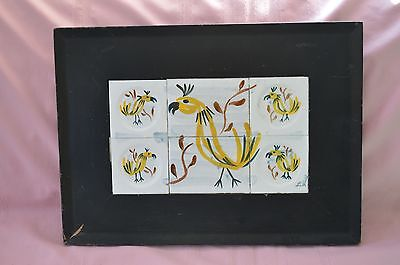 Vtg Unique Abstract Style Hand Painted Chicken Tile Serving Tray Artist Signed