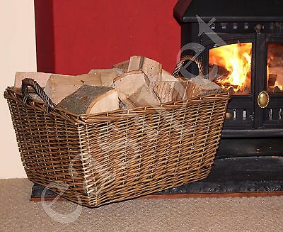 Large Wicker Log Basket Storage Carrier Logs Firewood Fireplace Toy Store Hamper