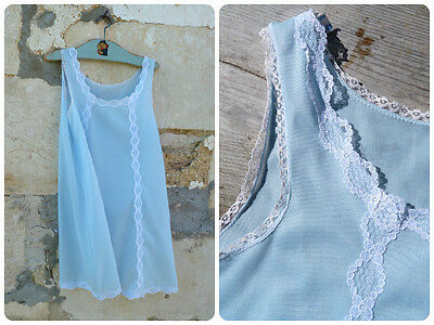 Vintage 1960/60s French soft blue polyester girl slip adorned with white lac siz