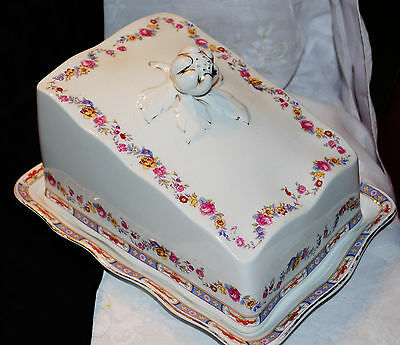 Antg Large Covered Porcelain Butter Cheese Keeper Dish Cake Server Royal Winton