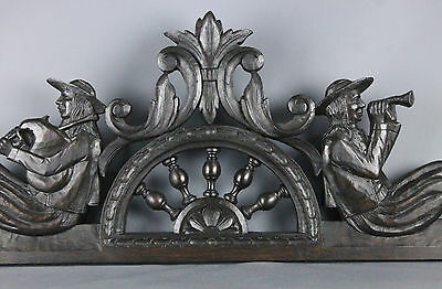 Antique French Carved Wood   Pediment Breton Brittany