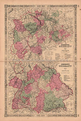 Germany No. 2 & 3 Antique Map AJ Johnson 1864 Original