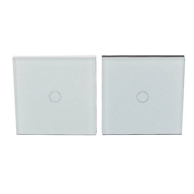 2 in 1 Set Crystal Glass Panel Touch 1 Gang 2 Way Home Wall Light Switch White